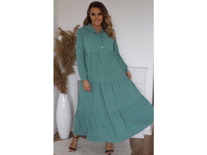 Dlhé prešívané košeľové šaty v zelenej farbe