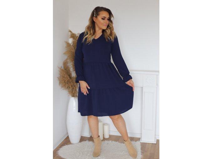 Tmavo-modré šaty s dlhým rukávom a výstrihom do V