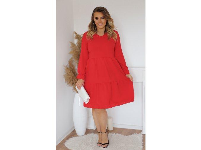 Červené šaty s dlhým rukávom a výstrihom do V
