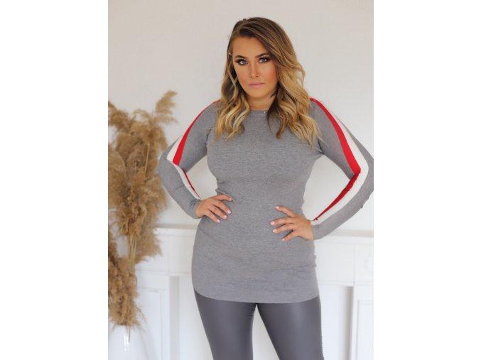 Sivý predĺžený sveter s prúžkom na rukáve