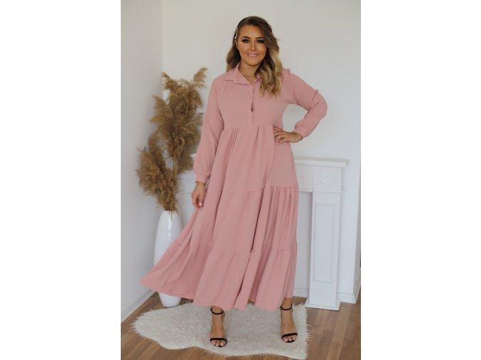 Dlhé prešívané košeľové šaty v ružovej farbe