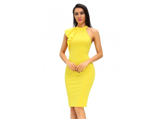 Yellow One Shoulder Ruffle Sleeve Midi Dress LC61094 7 1