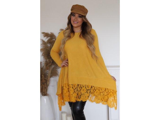 Voľný horčicovo-žltý predĺžený sveter s čipkou