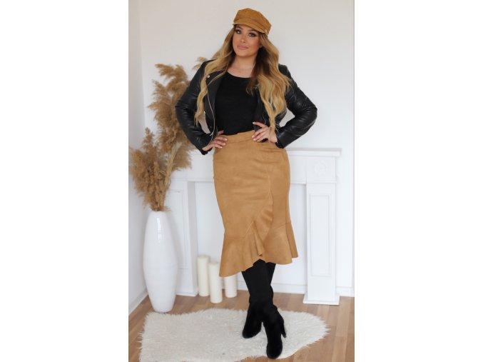Hnedá semišová sukňa