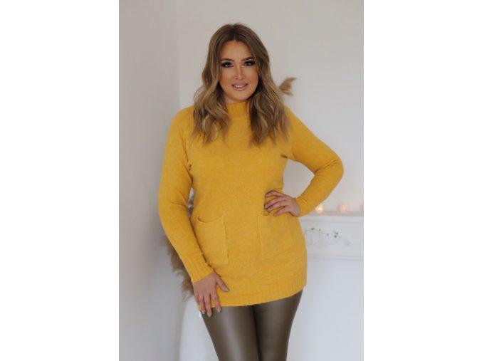 Predĺžený sveter s vreckami v žltej
