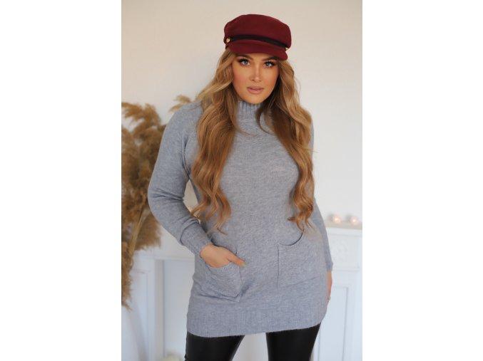 Predĺžený sveter s vreckami v sivej