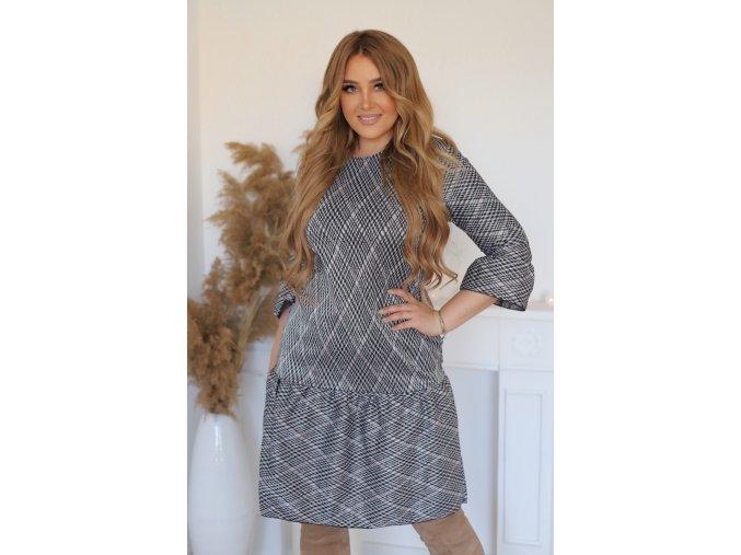 Sivé vzorované krátke šaty