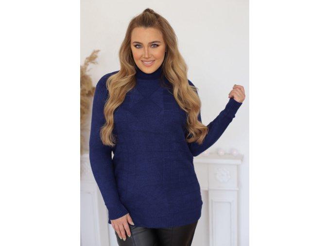 Rolákový sveter s jemným štvorcovým vzorom v modrej