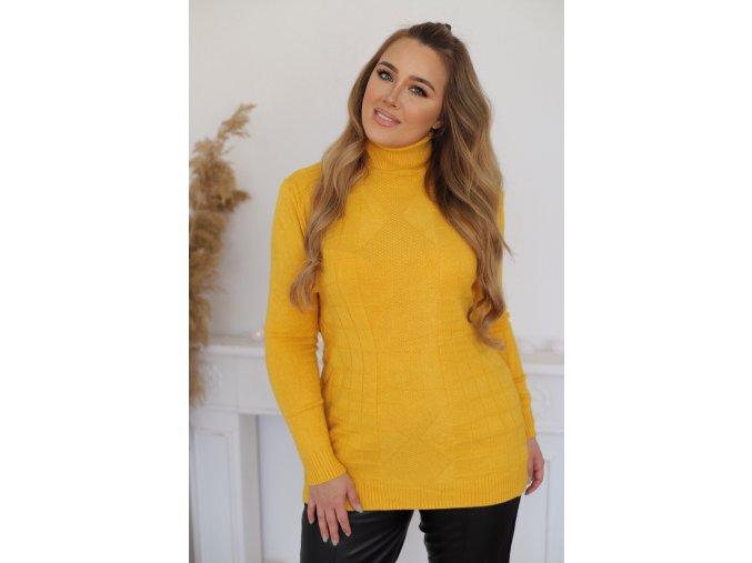 Rolákový sveter s jemným štvorcovým vzorom v žltej