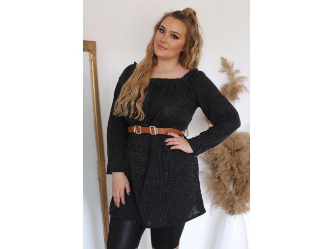 Čierna tunika s dlhým rukávom