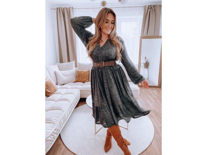 Voľné šaty s výstrihom do V - sivá