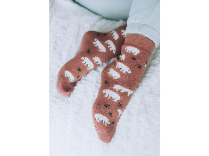 Tehlové ponožky s Angorskou vlnou - Polárny medveď