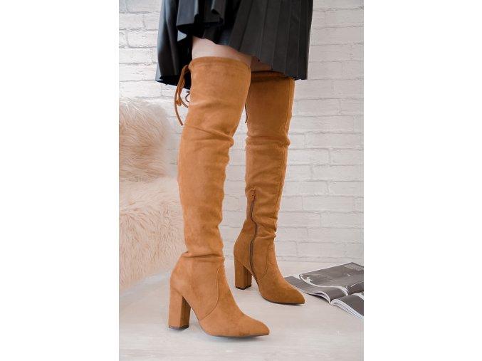Hnedé vysoké čižmy nad kolená