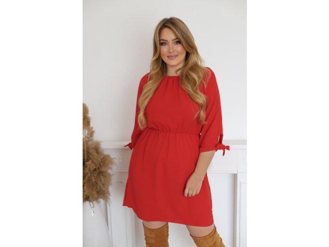 Krátke šaty s mašličkami na rukávoch - červená