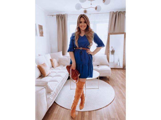 Krátke modré šaty s výstrihom do V