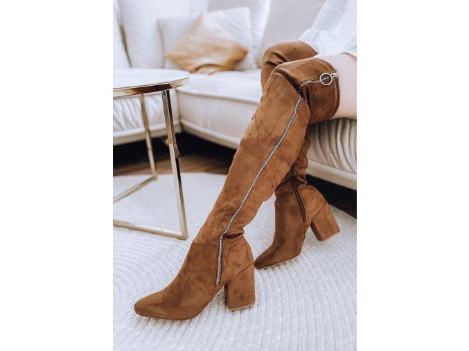 Hnedé vysoké čižmy nad kolená s ozdobným zipsom