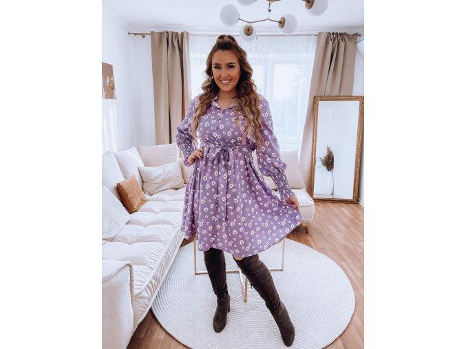Fialové košeľové šaty