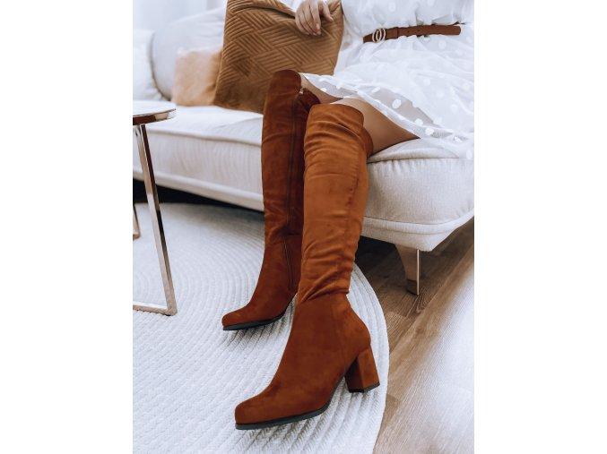 Hnedé čižmy nad kolená