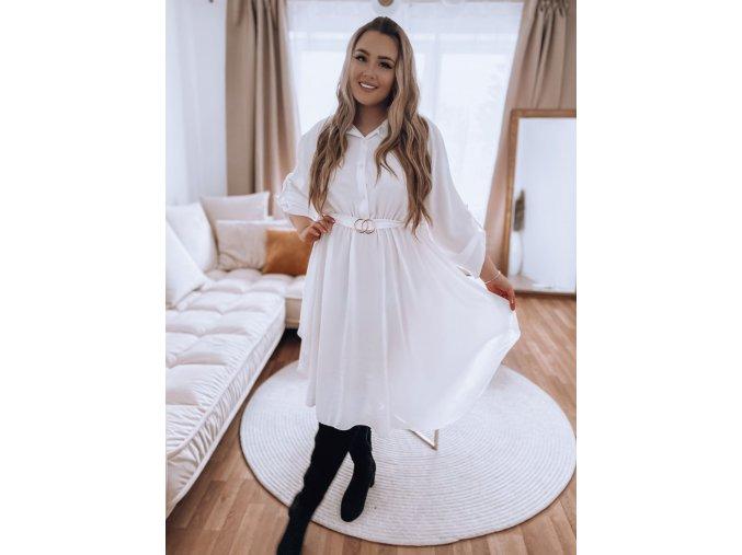 Košeľové šaty s opaskom a trojštvrťovým rukávom - biela