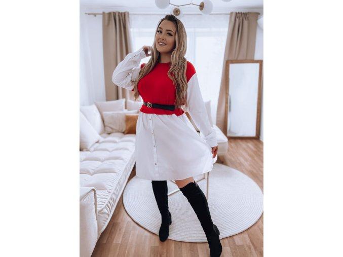 Kombinovaná košeľa v červeno-bielej