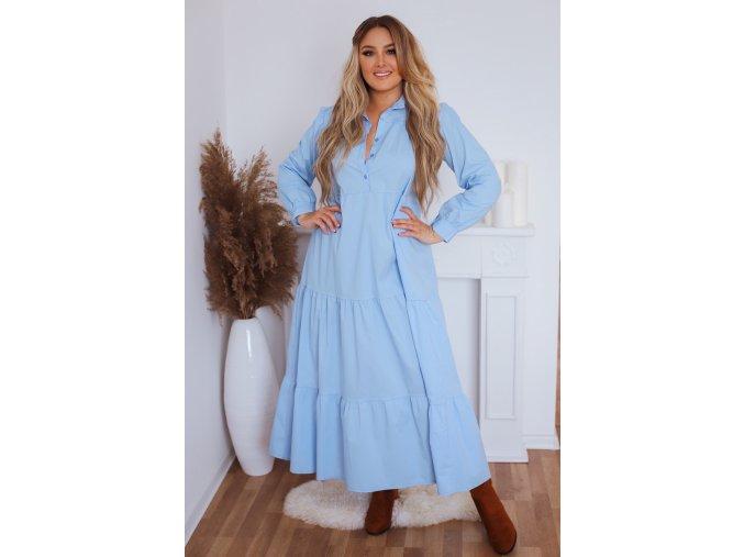 Dlhé prešívané košeľové šaty v bledo modrej farbe