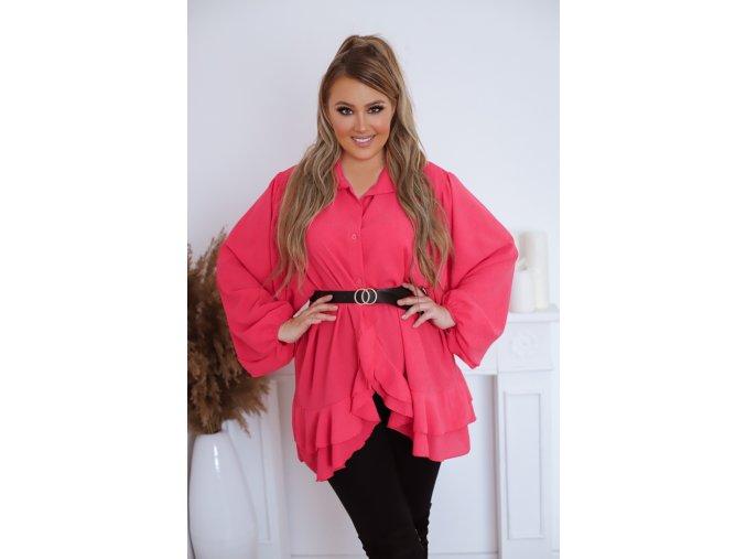 Košeľa so širokými rukávmi v ružovej