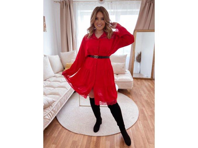 Prešívané šaty s čipkou - červená