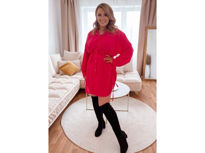 Košeľové šaty so sťahovaním na bokoch - ružová