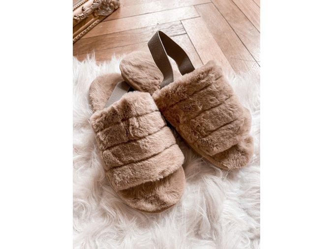 Hnedé papuče s umelou kožušinou