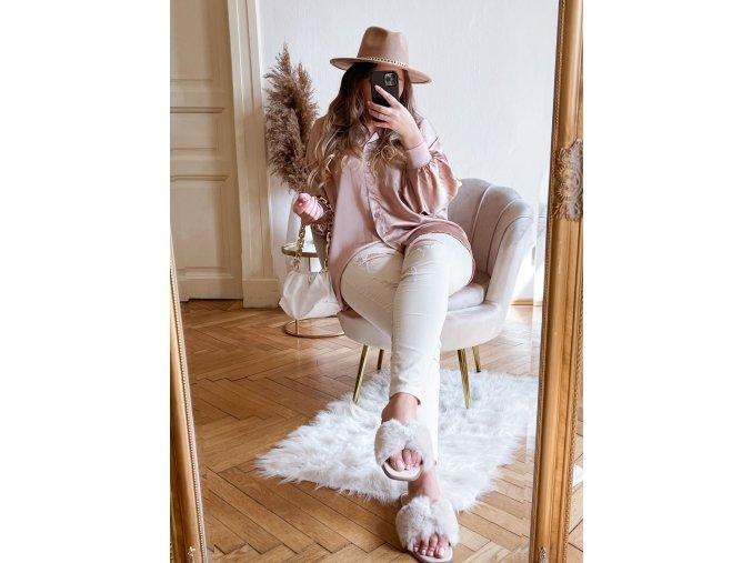 Asymetrická košeľa so saténovým efektom - bledo ružová