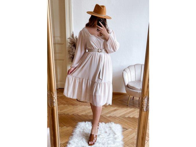Voľné krémové šaty v midi dĺžke s dlhým rukávom