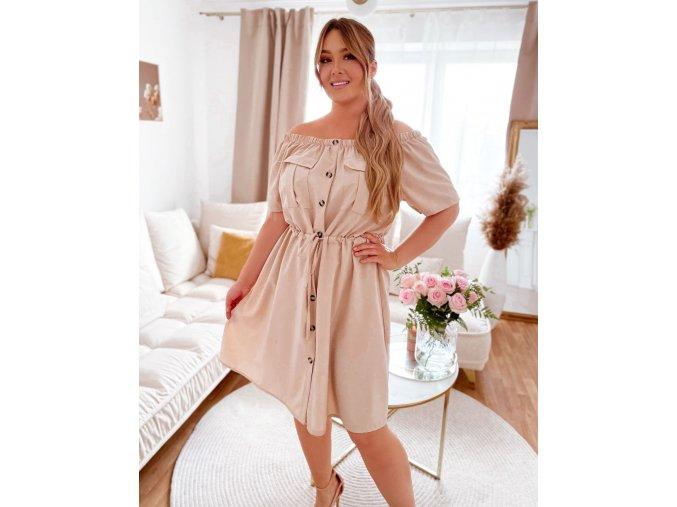 Béžové šaty s odhalenými ramenami