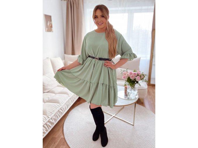Voľné prešívané šaty s krátkym rukávom