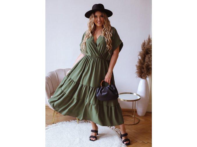 Dlhé voľné šaty s krátkym rukávom v khaki zelenej