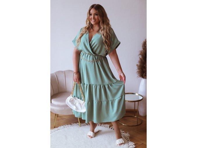 Dlhé voľné šaty s krátkym rukávom v bledo zelenej