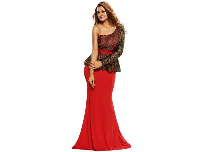 Dlhé peplum šaty cez jedno rameno v červenej