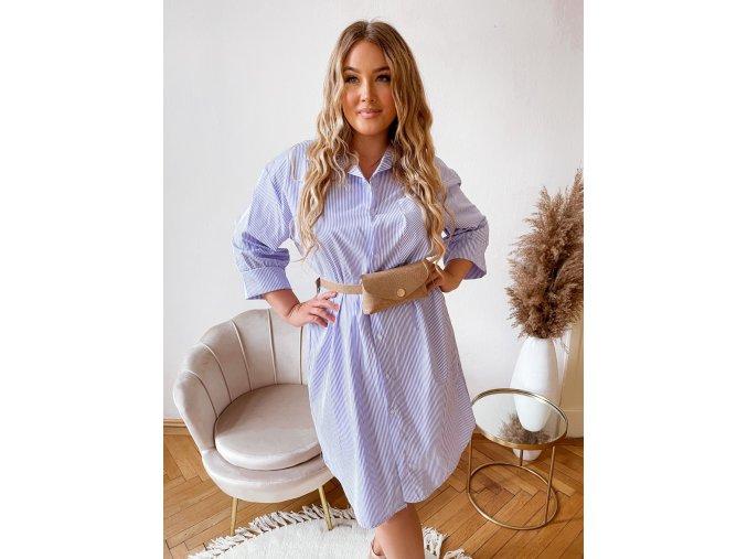 Prúžkované košeľové šaty v modro-bielej