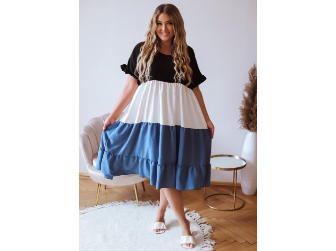 Voľné šaty s krátkym rukávom - modrá