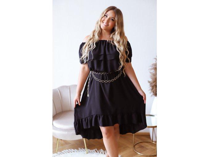 Asymetrické šaty s odhalenými ramenami a volánom - čierna
