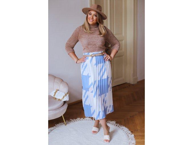 Modro-biela plisovaná sukňa