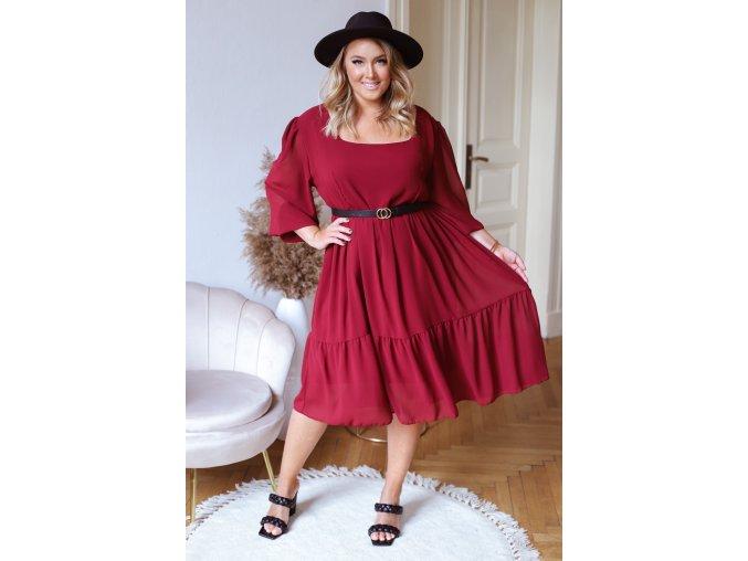 Voľné bordové šaty v midi dĺžke s dlhým rukávom
