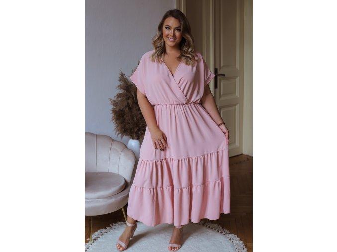 Dlhé voľné šaty s krátkym rukávom v svetlo ružovej