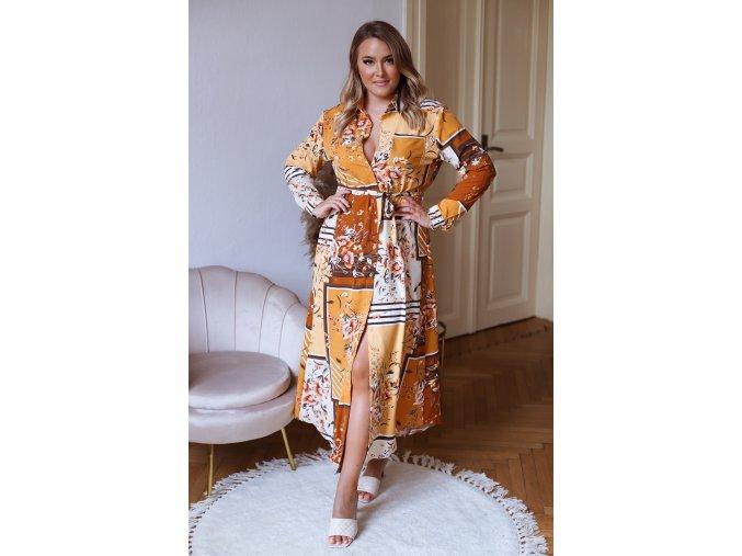 Dlhé vzorované košeľové šaty v horčicovo žltej