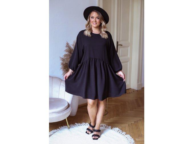 Krátke šaty nad kolená s dlhým rukávom v čiernej
