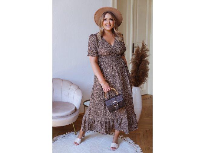Dlhé vzorované šaty s krátkym rukávom - hnedá