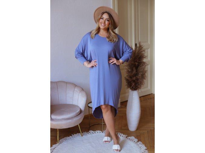 Asymetrické tričkové šaty - modrá