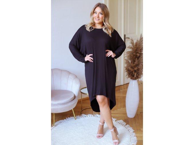 Asymetrické tričkové šaty - čierna
