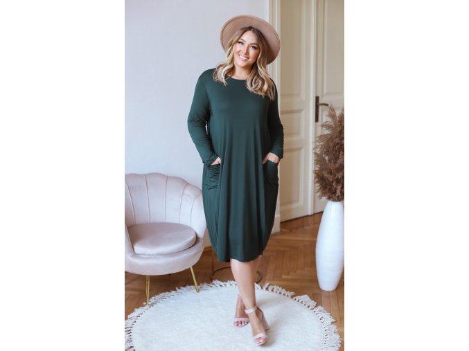 Tričkové šaty s vreckami - zelená