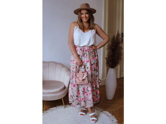 Dlhá kvetinová sukňa - béžová