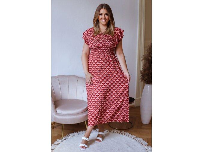 Dlhé šaty s krátkym rukávom - červená